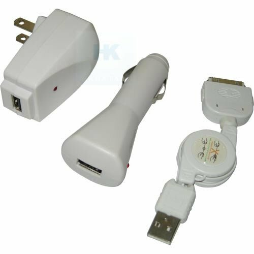 USB CABLE + CAR + WALL CHARGER FOR IPOD NANO TOUCH iPHONE
