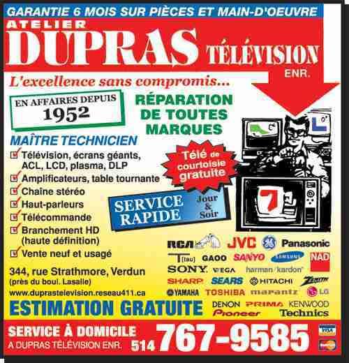 Reparation TV Rosemont ACL Plasma DLP Samsung Panasonic Sony Toshiba LG -> Dupras Television